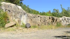 Precipitous steep abrupt basalt rocks in Rivne oblast, Ukraine Stock Footage