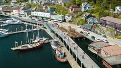 Ketchikan Alaska Port and Marina Bustling with Tourists - stock footage