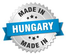 made in Hungary silver badge with blue ribbon - stock illustration