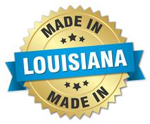 made in Louisiana gold badge with blue ribbon - stock illustration