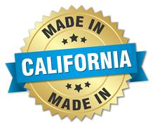 made in California gold badge with blue ribbon - stock illustration