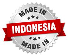 Stock Illustration of made in Indonesia silver badge with red ribbon
