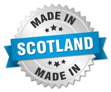 Stock Illustration of made in Scotland silver badge with blue ribbon