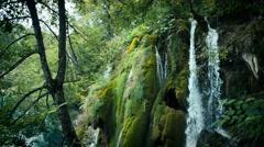 Waterfall and Lake in Plitvice, National Park. Croatia. 4k Stock Footage