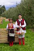 Oicture of a RESEN, MACEDONIA. 27 SEPTEMBER 2015- Boy and girl in traditional Stock Photos