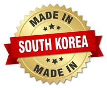 Stock Illustration of made in South Korea gold badge with red ribbon