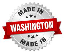 made in Washington silver badge with red ribbon - stock illustration