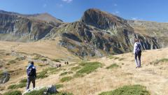 Stock Video Footage of People walking in picturesque Bulgarian mountains in Rila Nature Park