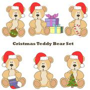 Christmas Teddy bear  set Stock Illustration