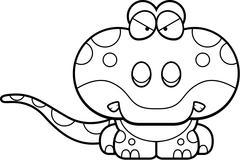 Cartoon Gecko Angry - stock illustration