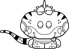 Cartoon Goofy Iguana - stock illustration