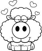 Cartoon Lamb Love Stock Illustration