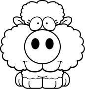 Cartoon Lamb Smiling Stock Illustration