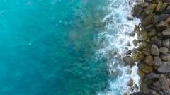 Aerial view on the sea waves and rocks, the Mediterranean sea. Stock Footage