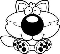 Stock Illustration of Cartoon Wolf Pup Sitting