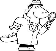 Cartoon Dinosaur Detective - stock illustration
