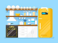 Kitchen flat style - stock illustration
