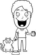 Stock Illustration of Cartoon Woman Feeding Cat