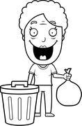 Cartoon Grandma Trash - stock illustration