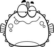 Drunk Little Blowfish - stock illustration
