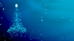 Christmas tree shape with stars - blue variant. Loop able - stock footage