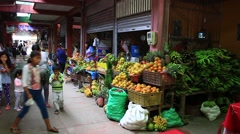 Market Traders Selling fFuit and Vegetables in Bolivia - stock footage