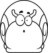 Surprised Little Snail - stock illustration