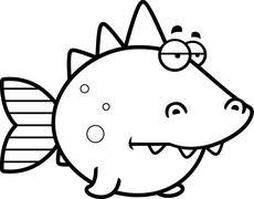 Bored Prehistoric Fish Stock Illustration