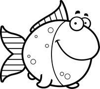 Cartoon Goldfish Smiling - stock illustration