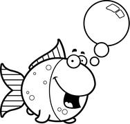 Talking Cartoon Goldfish - stock illustration