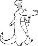 Alligator Chef Stock Illustration