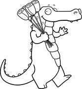 Cartoon Alligator Flowers Stock Illustration