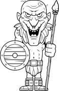 Cartoon Goblin Spear Stock Illustration