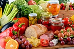 Composition with variety of organic food. Balanced diet. - stock photo