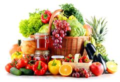 Composition with organic food isolated on white background. Balanced diet Stock Photos