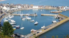 Aerial view of harbour at Stonehaven bay, Aberdeenshire, Scotland, UK Stock Footage