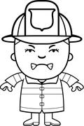 Angry Firefighter Boy Stock Illustration
