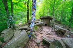 Dolmen at the forest ancient prehistoric building Stock Photos