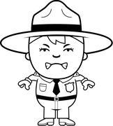 Angry Boy Park Ranger - stock illustration