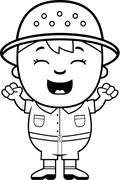 Boy Explorer Excited - stock illustration