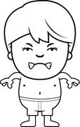 Angry Boy in Swimsuit - stock illustration