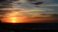 Dark sunset over the sea Stock Footage