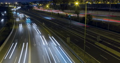 Night scene of traffic and roads.Time Lapse - Long exposure - 4K Stock Footage