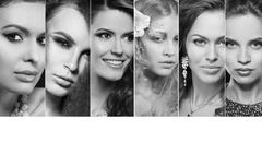 Beauty collage. Faces of women. Fashion photo Stock Photos