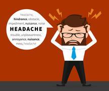 Lucky businessman has a headache - stock illustration