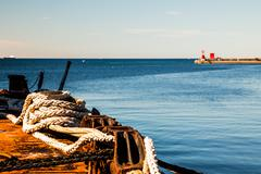 Nautical equipment in the port of Trieste - stock photo