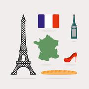 Icons symbols of France. Eiffel Tower and map country. Baguette and bottle of - stock illustration