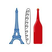 France flag of tourist attractions in ountry:  Eiffel Tower, crisp baguette a - stock illustration