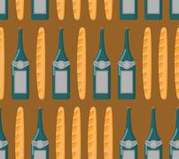 French seamless patern. Baguette and wine. Vector background of national food - stock illustration
