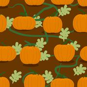 Pumpkin farm seamless patter. Plantation of pumpkins background. Grow pumpkin Stock Illustration
